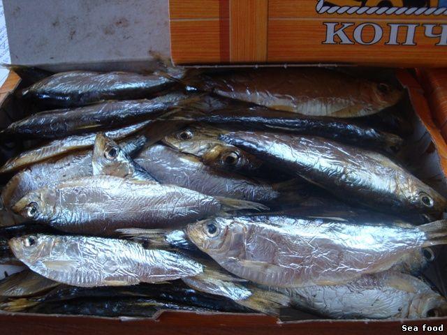 Тюлька копченая, бычок вяленый, Рапана, Калкан, рыба и морепродукты.